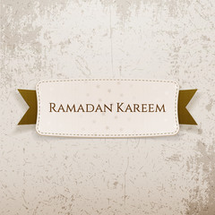Ramadan Kareem paper Tag with Text and Ribbon