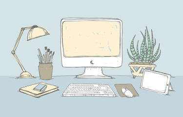 Hand drawn vector illustration - Concept of creative office work