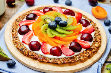 Greek yogurt granola fruit breakfast pizza