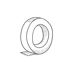 Roll of adhesive tape sketch icon.