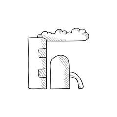 Refinery plant sketch icon.