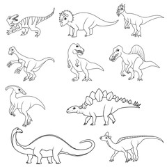 Coloring book: Set of ten different dinsaurs