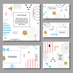 Vector illustration set of artistic colorful universal cards. Wedding, anniversary, birthday, holiday, party. Design for poster, card, invitation. With golden glitter texture. Memphis style