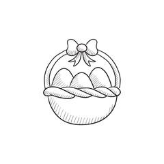 Basket full of easter eggs sketch icon.