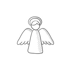 Easter angel sketch icon.