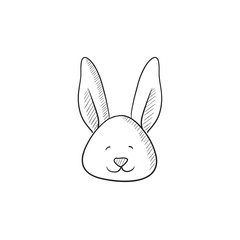 Easter bunny sketch icon.