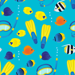Underwater seamless pattern on blue background. Coral reef colorful fish and diving equipment.