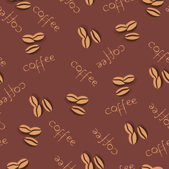 Seamless coffee pattern in pale brown colors.