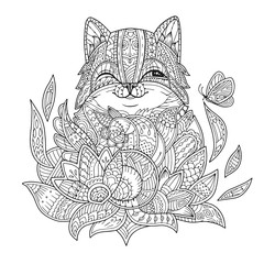 Zentangle stylized cat in flowers with butterfly. Hand drawn fat fluffy cat portrait for adult coloring page. Zen doodle. Vector illustration on a white background.