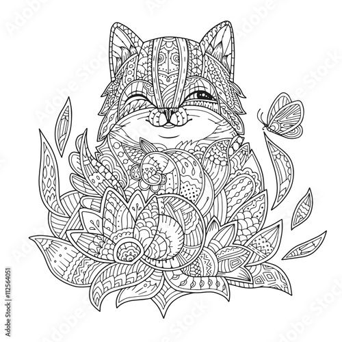 Zentangle Stylized Cat In Flowers With Butterfly Hand Drawn Fat Fluffy Portrait For Adult