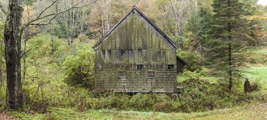 Old Vermont Shingled Barn: A panoramic view of an old wooden barn in a forest setting near Thetford, Vermont