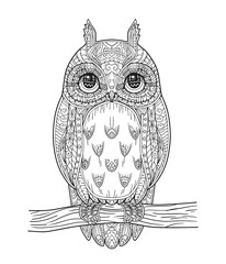 Hand drawn vector owl zentangle style. Black and white illustration. Zen art. Antistress coloring book page for adults.