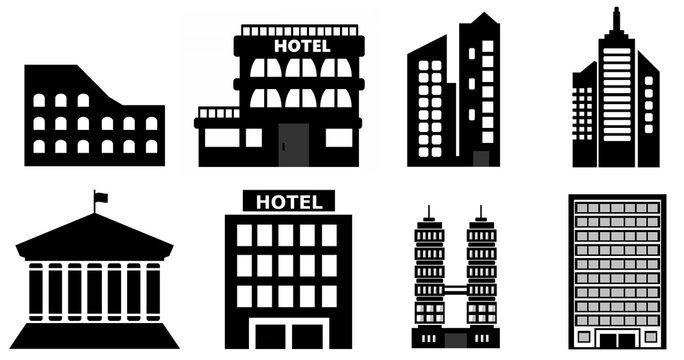 Bâtiments en 8 icônes