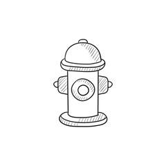 Fire hydrant  sketch icon.