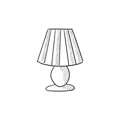 Table lamp sketch icon.