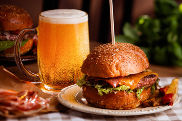 dinner with burger and beer