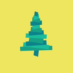 Vector white paper Christmas tree