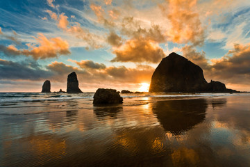 Sunset on Cannon Beach, Oregon