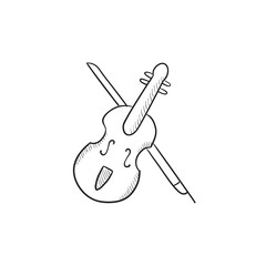 Violin with bow sketch icon.