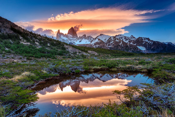 Reflection of Mt Fitz Roy in the water, Los Glaciares National Park, Argentina
