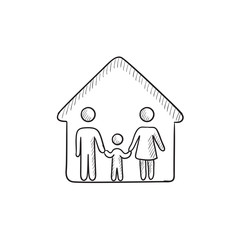 Family house sketch icon.