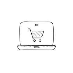 Online shopping sketch icon.