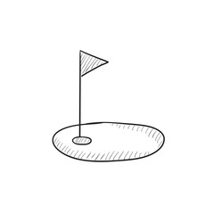 Golf hole with flag sketch icon.