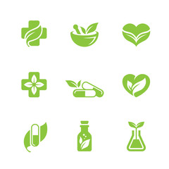Herbal medicine icons set