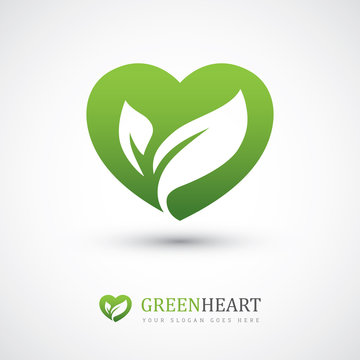 Green heart with leaves