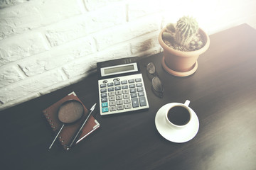 different items on wooden desktop