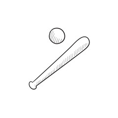 Baseball bat and ball sketch icon.