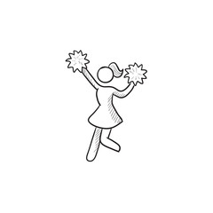 Cheerleader sketch icon.