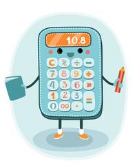 Cartoon smiling electronic calculator character
