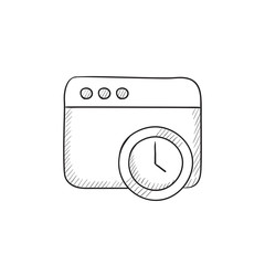 Browser window with clock sign sketch icon.