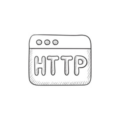 Browser window with http text sketch icon.