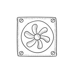 Computer cooler sketch icon.