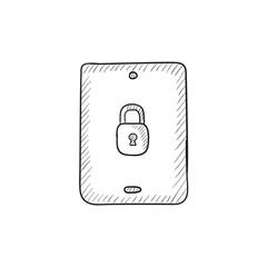 Digital tablet security sketch icon.