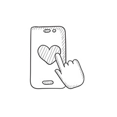 Smartphone with heart sign sketch icon.