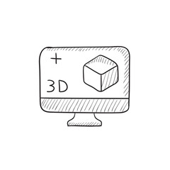 Computer monitor with 3D box sketch icon.
