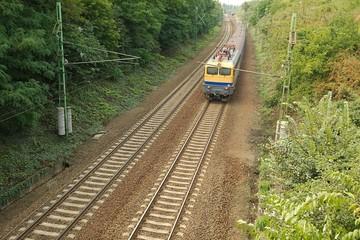 Railway line with train