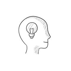 Human head with idea sketch icon.