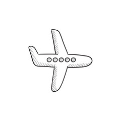 Flying airplane sketch icon.