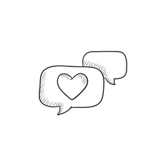 Heart in speech bubble sketch icon.