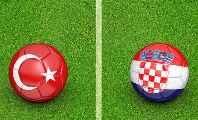 Team balls for Turkey vs Croatia football tournament match, 3D rendering