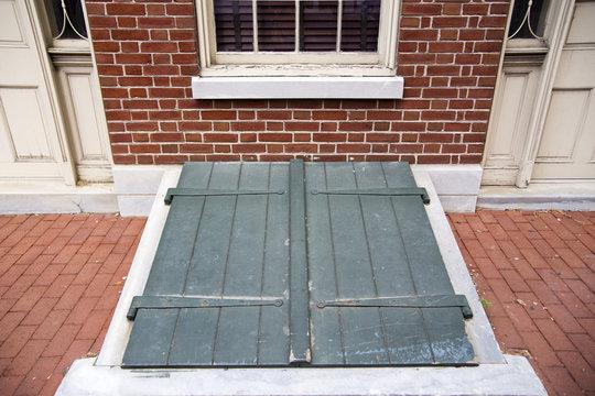 Green Exterior Storm Cellar Doors