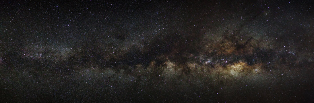 milky way galaxy on a night sky, long exposure photograph, with