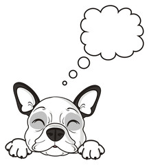 callout, note, blank, clean, thinking, thoughts, desires, empty, sleep, lie, dog, french, bulldog, breed, background, white, isolated, cartoon, puppy,  animal, muzzle, snout, paws