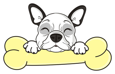 bone, treat, food, sleep, lie, dream, closed, eyes, dog, french, bulldog, breed, background, white, isolated, cartoon, puppy,  animal, muzzle, snout, paws