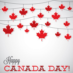 String of leaves Canada Day card in vector format.
