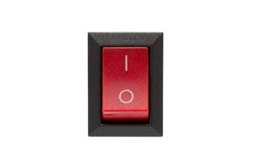 Red power switch isolated on white background.( With clipping path.)